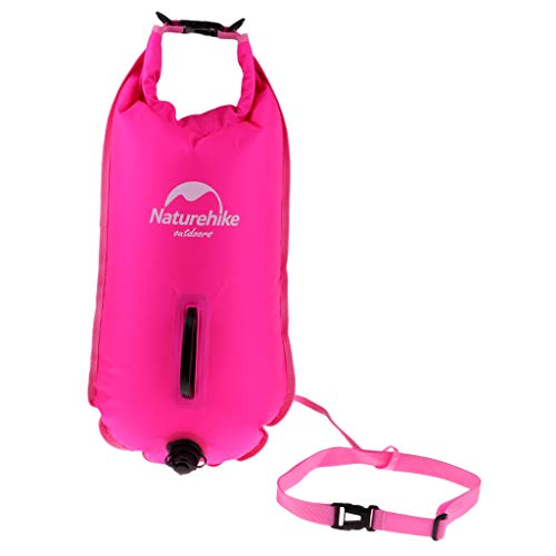B Baosity Alta Bolsa de Aire Inflable Visible Flotador de Remolque de Boya para Natación en Agua Abierta - Fluo Rosa roja
