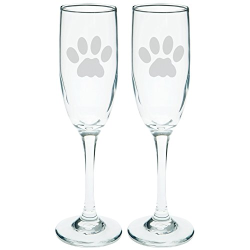 Cat Paw Etched Champagne Glass Set