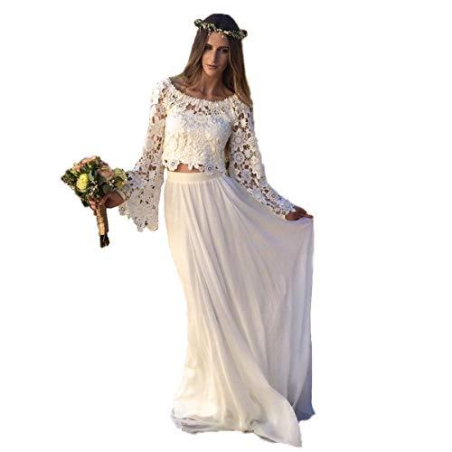 NUOJIA Damen Boho Spitze Hochzeitskleider Zweiteilig Standesamt Böhmischen Brautkleider mit Lange Ärmel Weiß 38