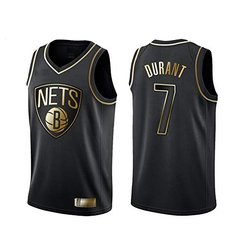 TGSCX NBA Schwarz Gold Edition Jersey - Kevin Durant # 7 Brooklyn Nets, kühle Breathable Gewebe Retro Swingman Sport-T-Shirts, Unisex Basketball-Trikot,XL
