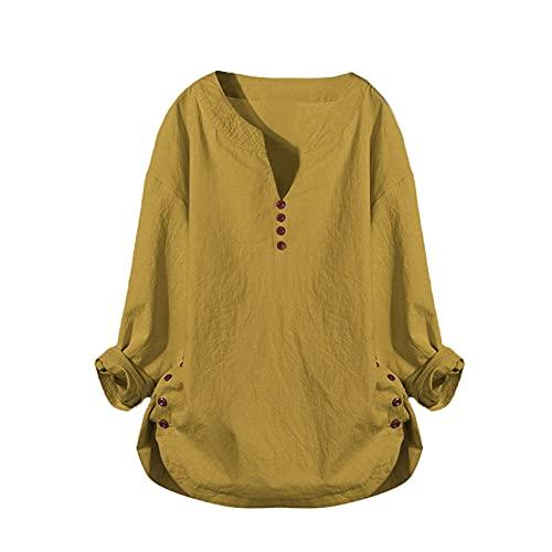 URIBAKY - Camicia da donna con bottoni, casual, scollo a V, maniche lunghe, chic, a maniche corte, taglia grande, giallo, XXXL