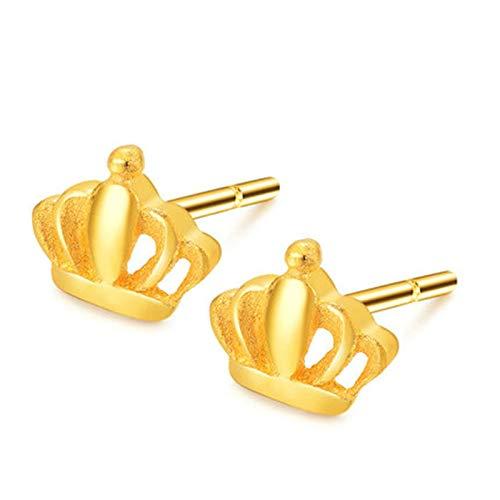 Aartoil Women Earring 18K Yellow Gold Stud Earrings for Womens Crown Earring Gold