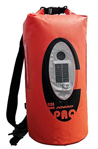 Saturn Wasserdichte Tasche mit Solarenergie mit Lautsprecher und mehrfarbiger LED-Beleuchtung, integrierter USB-Anschluss und Bluetooth, kompatibel mit Android und iOS