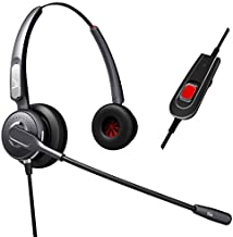 Dual Ear Headset Headphones + Adjustable Volume + Mute Control for Cisco IP Telephone 7931 7940 7960 7970 7962 7975 7961 7971 7960 M12 M22 and All 79xx Series