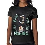 Mujeres Camiseta Superior Personalizada Sólo Gusanos no Les Gusta Pescar Manga Corta Camiseta Divertida Negro,6XL
