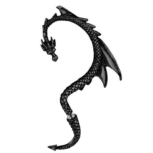 Serebra Jewelry Dragón Pendientes Manguito de Oreja | con Tonos Negro| by (Oreja Izquierda)