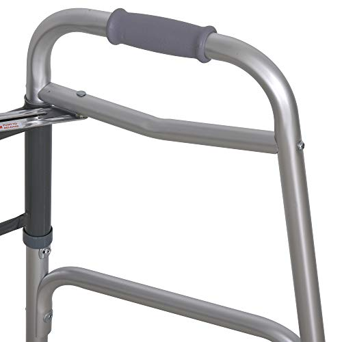 41 R1z+zwDL. SL500  - HOMCOM Andador para Ancianos Caminador Plegable con Altura Ajustable Almohadillas de Pies Marco de Aleación de Aluminio 64x50x77-95 cm Plata
