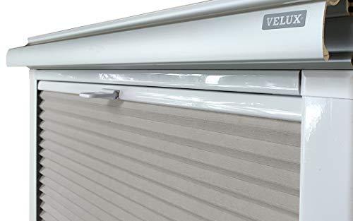 Home-Vision® Dachfenster Premium Plissee Faltrollo ohne Bohren Velux-kompatibel (Grau für CK04 - Weiß) Blickdicht Sonnenschutz, Alle Montage-Teile inklusive