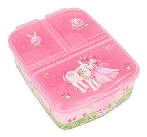 Depesche 3950 Brotdose aus Kunststoff im Princess Mimi Design, ca. 18,3 x 13,7 x 5,7 cm groß, unterteilt in 3 Fächer, praktischer Klippverschluss, ohne BPA und Weichmacher