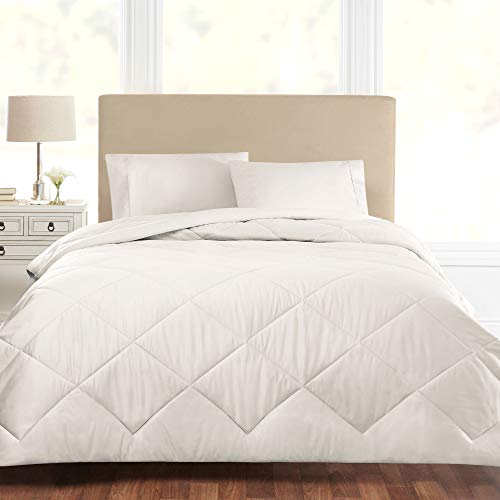 Sleepletics Celliant Performance Comforter, Down Alternative, Premium Luxury Bedding, Soft & Cozy, Promotes Better Sleep, Diamond Stitch Design (Chalk, Full/Queen)