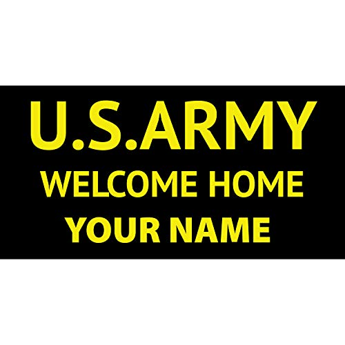 BANNER BUZZ MAKE IT VISIBLE US Army Welcome Home Personalized Name Banner 11 Oz Vinyl PVC Flex Banners with Hemmed Edges & Metal Grommets Free (3' X 2')