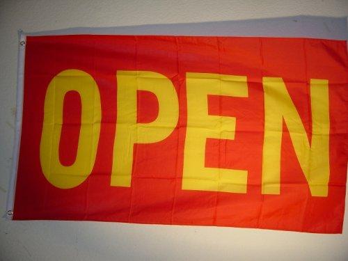 Fahnen Flaggen OPEN rot gelb 150 x 90 cm