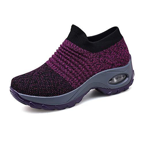 Zapatillas Deportivas de Mujer Gimnasio Zapatos Running Deportivos Fitness Correr Casual Ligero Comodos Respirable Negro Gris Morado 35-42 PP41
