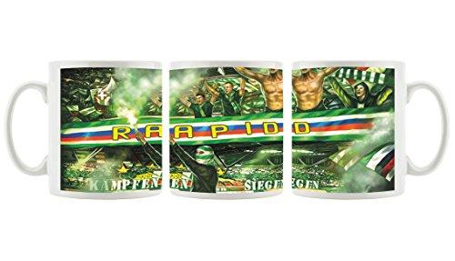 Ultras-Art Rapid kämpfen und Siegen als Bedruckte Kaffeetasse/Teetasse aus Keramik, 300ml, weiß