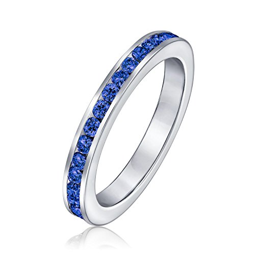 Cubic Zirconia Blue Stackable CZ Channel Set Eternity Band Ring Simulated Sapphire For Women Teen 925 Sterling Silver