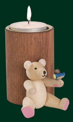 Rudolphs schatkist bruine stompkaars teddy met vogel theelichthouder kaars 8cm Ertsgebergte