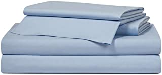 Craftsworth King Size 300 Thread Count 4 Piece Sheets Set 100% Egyptian Cotton Sheets Sateen 1 Flat Sheet 1 Fitted Sheet 2 Pillowcases Bed Sheets Soft Finish Easy Care Breathable (SkyBlue)
