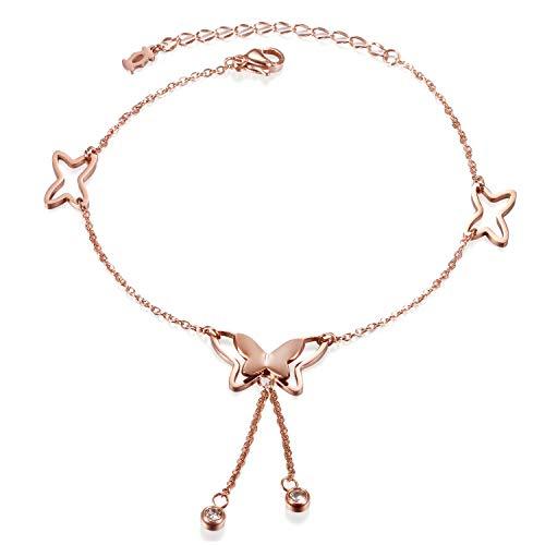 Oidea Stainless Steel Butterfly Star Tassle Link Bracelet Anklet for Women Girls Birthday Gift,8 Inch,Rosegold