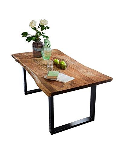 KAWOLA Esstisch 120x85cm massiv mit Baumkante Nussbaumfarben Fuß schwarz