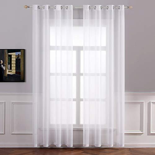 MIULEE 2er Set Sheer Voile Vorhang mit Ösen Transparente Gardine aus Voile Polyester Ösenschal Transparent Wohnzimmer Luftig Dekoschal für Schlafzimmer 140 X 245 cm (B x H), Grommet Top Weiß