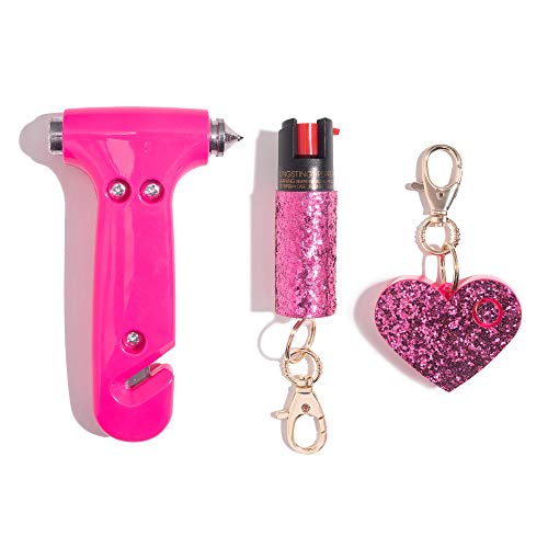 Super-Cute Safety Kit Includes Emergency Automotive Escape Hammer Tool - Seat Belt Cutter and Window Breaker, Personal Security Alarm, & Self-Defense Pepper Spray Keychain for Women