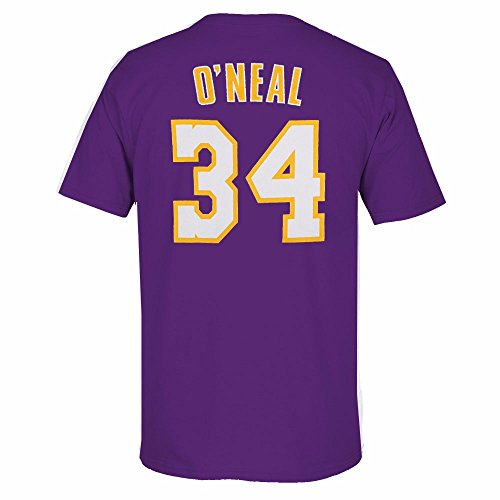 adidas Shaquille O'Neal Los Angeles Lakers NBA Men Purple Originals Player Name & Number Retro Jersey T-Shirt (XL)