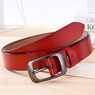Fashion Women Leather Belts for Jeans Pants with Metal Pin Buckle Ladies Retro Vintage Leather Waist Belt