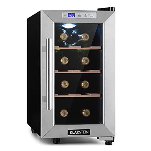 Klarstein Reserva Uno Weinkühlschrank, 23 Liter / 8 Flaschen, Temperatur: 11-18 °C, Geräuscharm: 26 dB, 3 Holzregalebenen, LED-Beleuchtung, UV-Schutz, Weinkühler, Freistehend, Edelstahl, Schwarz