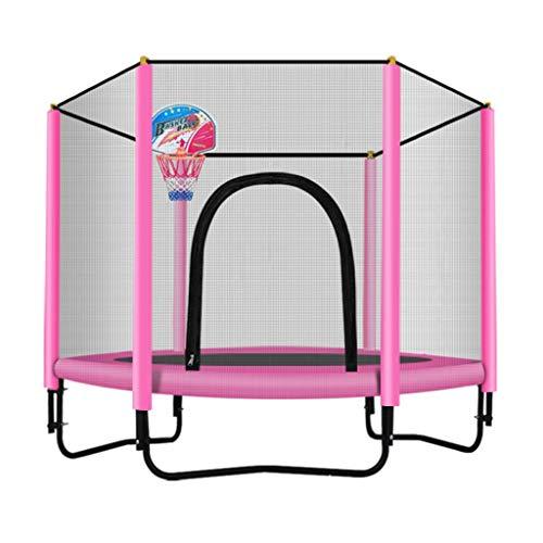 Trampolino Tappeto Elastico Chiuso con canestro da Basket - Giardino Tappeto da Salto Pesante, Supporto 225 kg, 150 cm / 5 Piedi, Blu/Rosa (Colore : Pink)