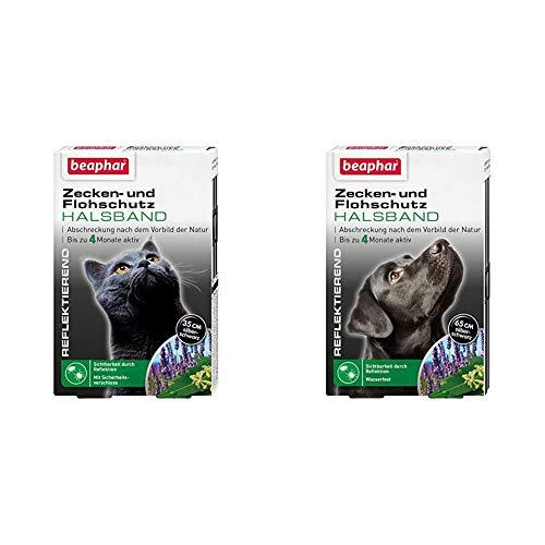 Zecken- & Flohschutz Halsband für Katzen | Zeckenschutz für Katzen | 1 Stk & Zecken- & Flohschutz Halsband für Hunde | Zeckenschutz für Hunde | Reflektierendes Halsband gegen Zecken & Flöhe | 1 Stk