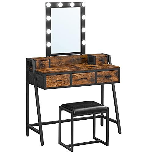 VASAGLE Conjunto de tocador, tocador de maquillaje con tocador, luz LED regulable, espejo y taburete acolchado, para vestidor,...