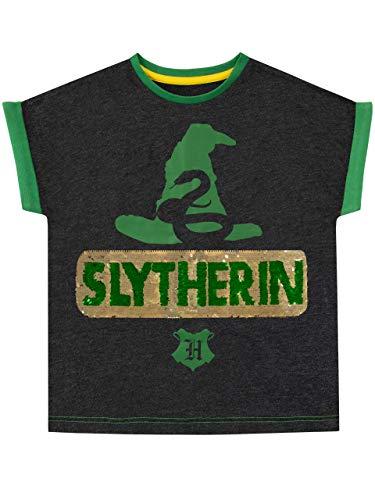 HARRY POTTER Camiseta de Manga Corta para niñas Slytherin Verde 6-7 Años