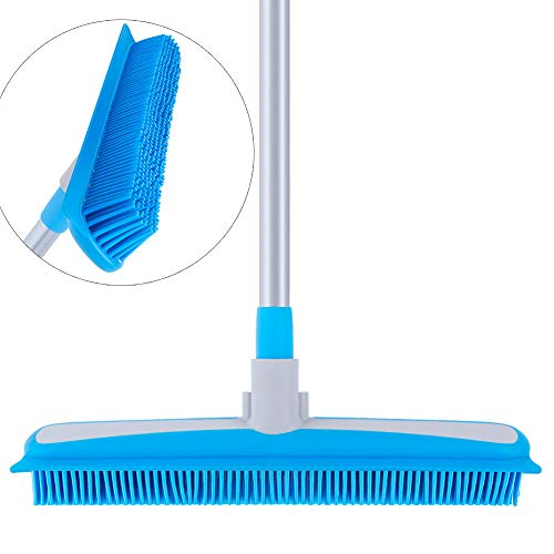MR.SIGA Soft Bristle Rubber Broom and Squeegee...