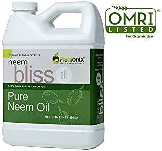 Organic Neem Bliss 100% Pure Cold Pressed Neem Seed Oil (64 oz) OMRI Listed for Organic Use - Free Same Day Shipping
