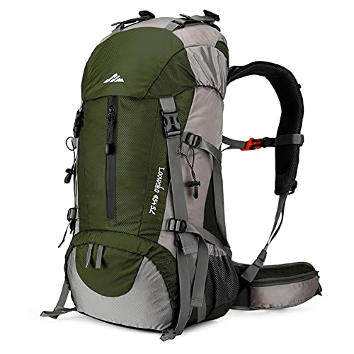 Loowoko Hiking Backpack 50L Travel Camping Backpack with Rain Cover - No Internal Frame (Green)