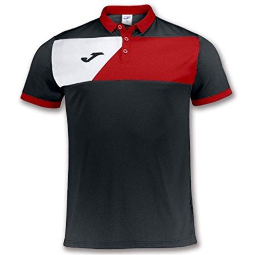 Joma Polo M/C Crew II Nero-Rosso Uniforms Homme, Noir/Rouge