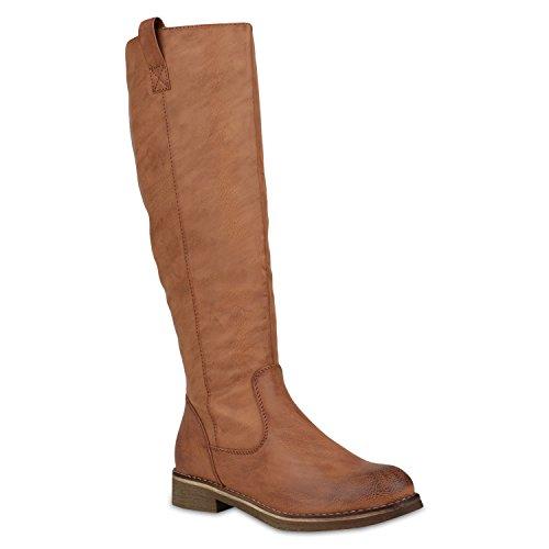 Klassische Stiefel Damen Schuhe Gefüttert Boots Profilsohle 148003 Hellbraun Arriate 38 Flandell