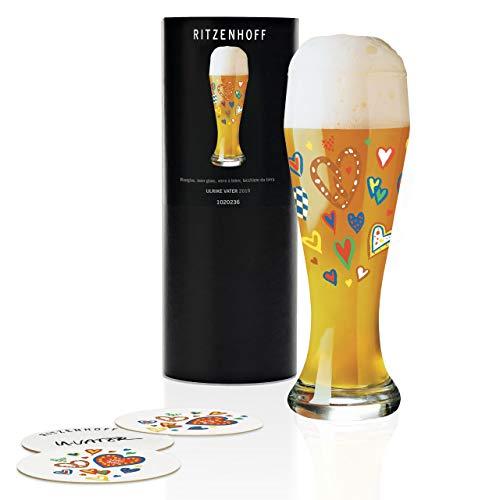 Vaso de cerveza de trigo de Ulrike Vater, 500 ml, con cinco tapas de cerveza