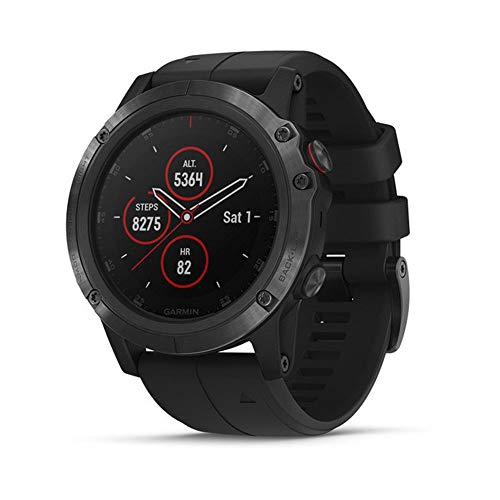 Garmin Fenix 5 Plus, Premium Multisport GPS Smartwatch, Features Color TOPO Maps, Heart Rate Monitoring, Music and Garmin Pay, Black with Black Band (Renewed)