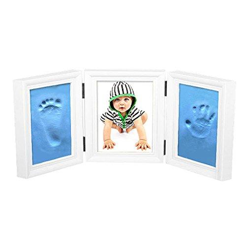 FakeFace Home Cadre Photos Bébé Pliant 2 Empreintes de Main et de Pied pour Un Souvenir avec Les Empruntes de Bébé-Cadre Blanc&Boue Bleu Clair