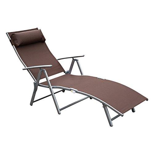 Outsunny Patio Sun Lounger Garden Textilene Foldable Reclining Chair w/Pillow Outdoor 5 Level Height Adjustable Recliner (Brown)
