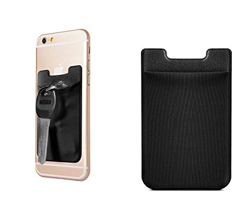 전화 카드 홀더는 신축성이 있는 셀룰라 전화 지갑 2 팩에 부착 지갑 주머니 신용카드 ID 경우 주머니 소매와 호환됩 아이폰 안드로이드와 대부분의 스마트 폰 블랙
