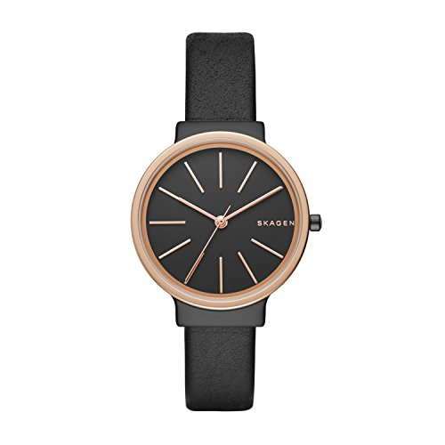 Skagen Ancher analoog quartz horloge met zwarte leren band voor dames SKW2480