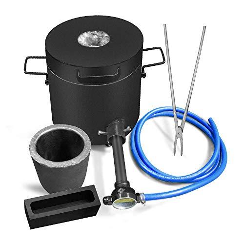 FASTTOBUY Forno di Fusione a Gas da 6 kg 1300 ° C / 2372 ° F, Kit Forno a Gas Automatico con crogiolo di Grafite e pinze, Forno di Fusione dell'oro