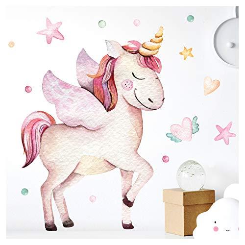 Little Deco Pegatina de Pared Unicorn Corazones y Estrellas I A4-21 x 29,7 cm I Pared Tatuaje niña Cuadros de habitación los niños bebé Deco la DL175