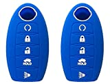 KAWIHEN 2pcs Silicone Smart Remote Key Fob Cover Protector For B07D35PQBS(blue)
