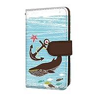 anve Android One S8 国内生産 カード スマホケース 手帳型 KYOCERA 京セラ アンドロイド ワン エスエイト 【A.ブルー】 海 クジラ 錨 best_vd-0067_sp