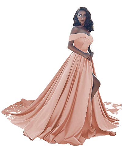 Ball Gown Satin Prom Dresses Long Off Shoulder Split Formal Wedding Dress for Women Peach 28 Size
