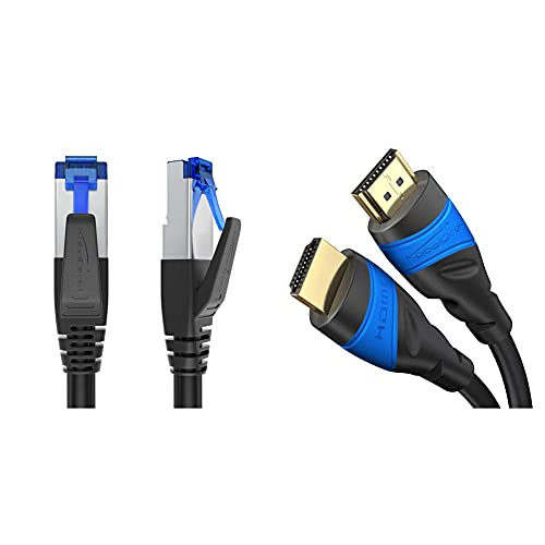 KabelDirekt Bundle – 1 m – 4K HDMI-Kabel (4K@120Hz & 4K@60Hz, High Speed mit Ethernet, HDMI 2.0) und 2m Cat 7 Netzwerkkabel RJ45, 10 Gigabit Ethernet, LAN & Patch Kabel