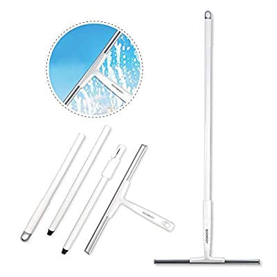 """BOOMJOY Floor Squeegee with 43"""" Extension Long Handle, Rubber Blade, for Bathroom, Tile Shower Floor Wiper"""